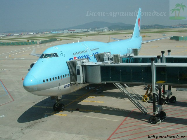 В аэропорту Сеула авиаперелет на Бали