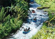 Рафтинг на Бали проходит через джунгли, мимо рисовых полей, скал и водопадов