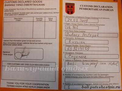Таможенная декларация, необходимый атрибут для получения визы на Бали